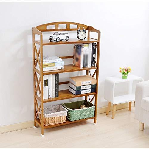 YANG Hauptschlafzimmer-Bücherregal-Bücherregal-Bambuskunst 4 Schichten Schlafzimmer-Speicher-Regal, Studentenschlafsaal-Bett Bücherregal,60 * 26 * 123 cm -