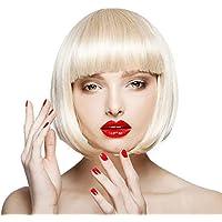 Littlefairy Peluca Blanca Mujer Moda Fibra química Natural Realista Ola Cabeza LIU Qi Peluca