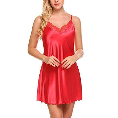 Women sexy Lace Spice Lingerie G-String Strap Dress Sleepwear Unterwäsche // Condole Gürtel Spitze Reizwäsche Unterwäsche Transparent Negligee Lingerie G-String (Rot, L) (Baby Spice Kleid)