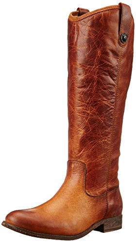 FRYE Women's Melissa Button-WAPU Riding Boot, Cognac Extended, 6.5 M - Melissa Frye Boot Button