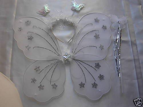 Paar Butterfly Fee Flügel Kostüm-Set Weiß weiß