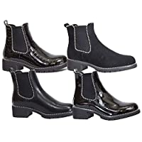 Flirty Wardrobe Chelsea Studded Black Ankle Boots Low Block Chunky Heel Sole Casual Winter Shoes Womens Slip On Studs Boot