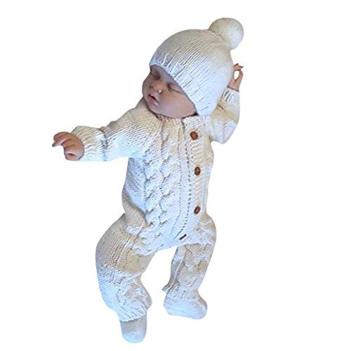 Produktbild Kinderbekleidung, Honestyi junge Kinder warm Coat Baumwolle Kids winddicht abnehmbare Cap Jacken strampler unisex Neugeborene Baby Kleidung Baby Langarm gestrickte Kleidung Crawling (Weiß