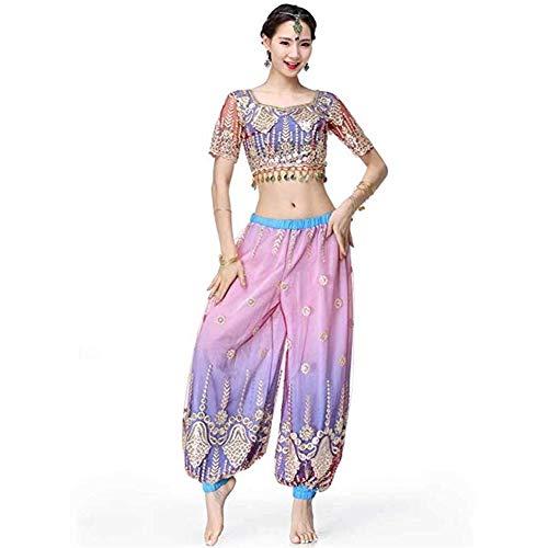 Indian Kostüm Sexy Adult - TFF Bauchtanz Set, Bauchtanz Kostüm, Indian Sari Dance Kostüm Adult Female Bauchtanz Kostüm Set (Color : Purple, Size : M)