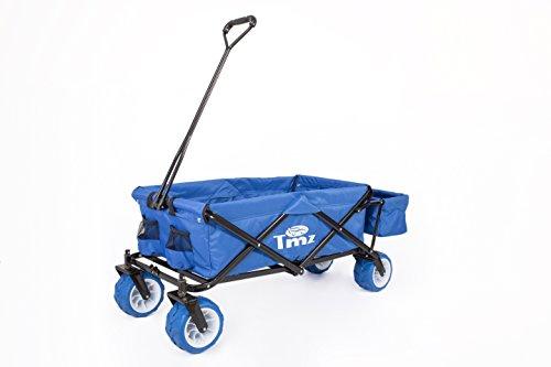 TMZ Bollerwagen 2132B Urlaub Traum Blau/Holiday Dream Blue, extrabreite 360° drehbar PUreifen für Off-Road-Einsätze, zusätzliche Hecktasche, für alle Untergründe geeignet