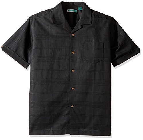 Cubavera Herren Short-Sleeve Dobby Plaid Camp Woven Shirt Button Down Hemd, Tonal Jet Black, Klein -