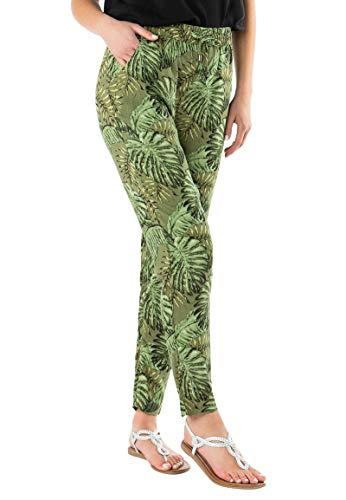 Sublevel leichte Damen Stoff-Hose mit Gummibund & Muster Dark-Green M