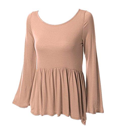 Fanessy Damen Langarmshirt Elegant T-Shirt Stretch Longshirt Bluse Tunika Kaffee