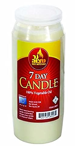 Kosher Memorial Candle in Plastic Jar, 7 Day