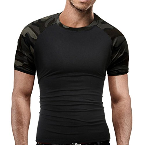 ❤️Tops Blouse Homme T-Shirt, Amlaiworld Hommes T-Shirt Slim Camouflage Militaire Tops Tee-Shirts à Manches Courtes O-Neck Blouse (L, Noir)