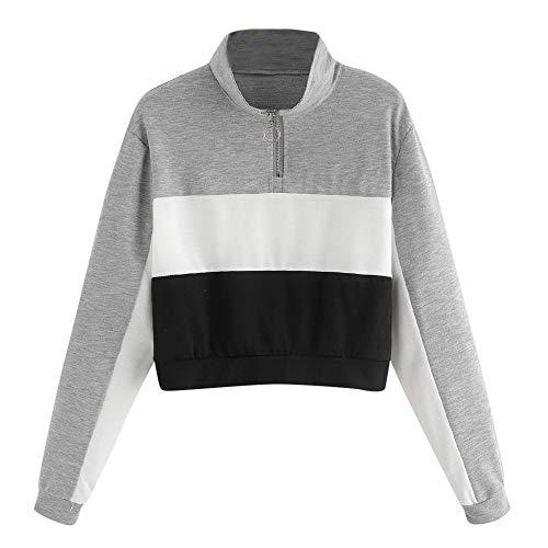 Frauen Patchwork Sweatshirt MYMYG Langarm Bluse mit Kapuze Pullover Tops Shirt Kapuzenpullover Tunnelzug Hoodie Mädchen Bluse(Grau,EU:34/CN-S) Cashmere-shift