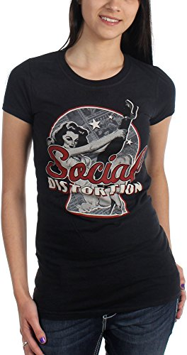 Social Distortion - Maglietta Newspaper Pin Up donna in nero Black XX-Large