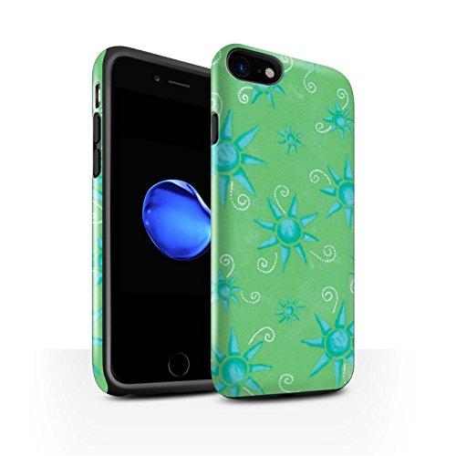 STUFF4 Glanz Harten Stoßfest Hülle / Case für Apple iPhone 8 / Lila/Weiß Muster / Sonnenschein Muster Kollektion Grün/Blau