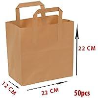 Sac en papier – Poignée plat - 22x12x22 - 70gsm – 50 piéces - Papier kraft marron - Non imprimé - %100 Recyclable