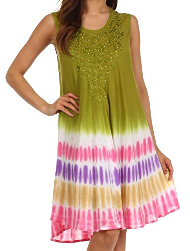 Sakkas multicolore Tie Dye Tank Robe / Cover Up Olive