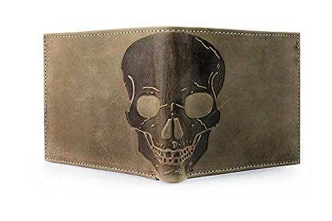 Unique Skull Embossed distressed Leather Bifold Gothic Slim Wallet - Dark Brown - Tan Brown - Dark Green (Dark Green)