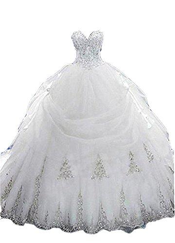 Cloverbridal Luxus Brautkleider Hochzeitskleider Prinzessin mit Strass Spitze Hochzeitskleider...