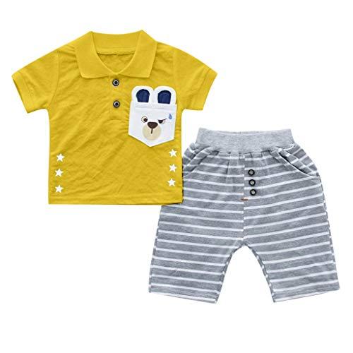 JUTOO Kleinkind Kind Baby Jungen Mädchen Brief T-Shirt Tops + Streifen Shorts Outfits Set (Gelb,100/12)