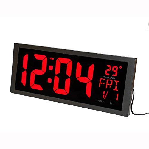 LambTown Led Reloj de pared Digital con Temperatura interior Calendario Semana y Fecha Ahorro de Tiempo para Oficina de sala de estar - Rojo