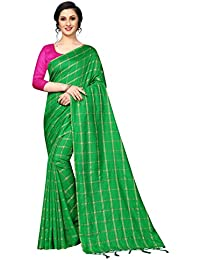 1e8123652aa442 Shreeji Designer Women s Soft Cotton Silk Fabric Chex Design Saree With  Blouse Piece SD-2237