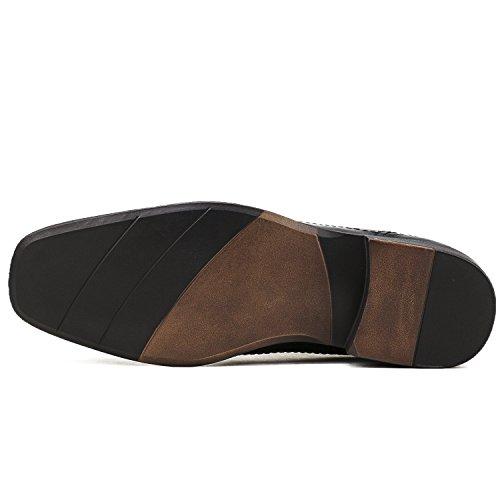 Shenji Herren Derby Leder Slipper Schuhe K8901-1 Schwarz