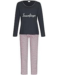 Damen Schlafanzug Pyjama lang aus 100% Baumwolle Gr. S M L XL / 36 38 40 42 44 46 48 50