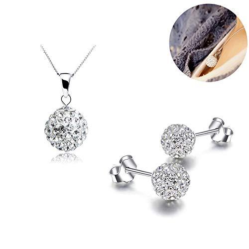 Xiton mooie vrouwen kristal massief zilver disco bal vriendschap ketting en bout-oorring set 10 mm