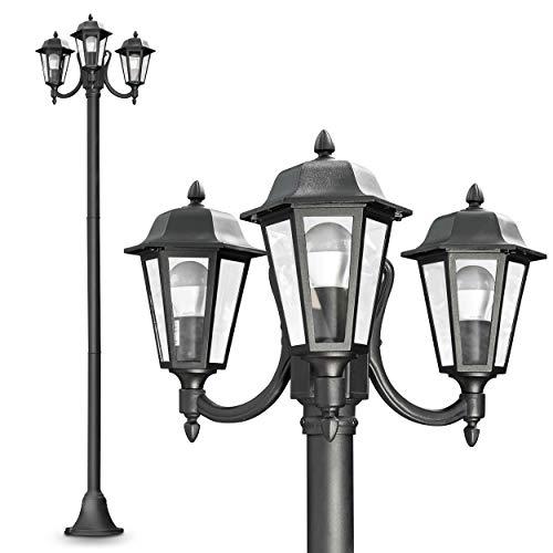 Außenleuchte NATAL, Kandelaber in antikem Look, Aluguß in Schwarz matt mit Klarglas-Scheiben, 3-armige Wegeleuchte 210 cm, Retro/Vintage Gartenlampe, E27-Fassung, je max. 60 Watt, IP44 -