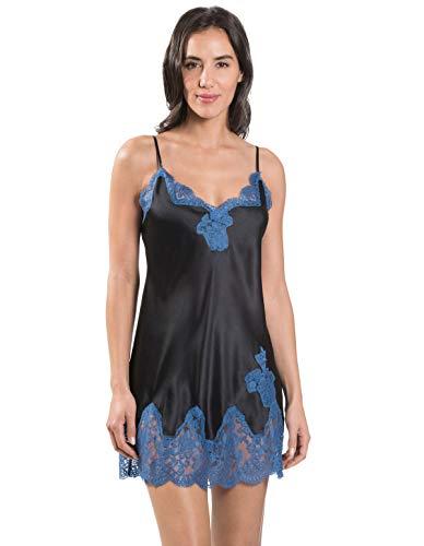 Aubade MS42 Women's Soie d'Amour Blue Velvet Lace Silk Babydoll 42