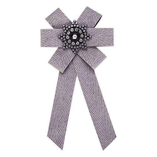 Nowbetter Stilvolle Elegante Schleife Brosche Anstecknadel Schleife Hals Krawatte Brosche Charm Kristall Anzug Hemd Hochzeit Party Kragen Fliege, grau, 20.4 * 10.5cm