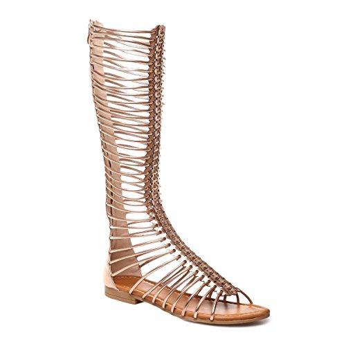 La Modeuse - Sandales montantes style spartiate en simili cuir Doré rose