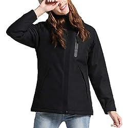 Chaqueta TéRmica EléCtrico USB Calefactable Jacket Encapuchado Invierno Mujer CáLido Ropa Impermeable para Acampar Al Aire Libre,Black,S