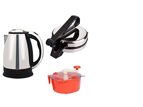 Snowpearl's Combo of Electric 1.8 Ltrs Stainless Steel Kettle and Silver Roti Maker, Dough Maker  available at amazon for Rs.1799