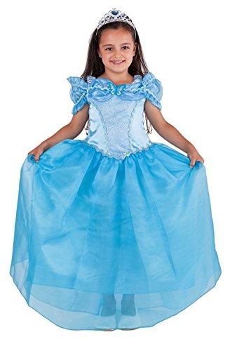 Magicoo Deluxe Prinzessin Kostüm Kinder Mädchen Glanz Kleid Blau mit Diadem Schmetterling - Prinzessinnenkleid Kinder (128)