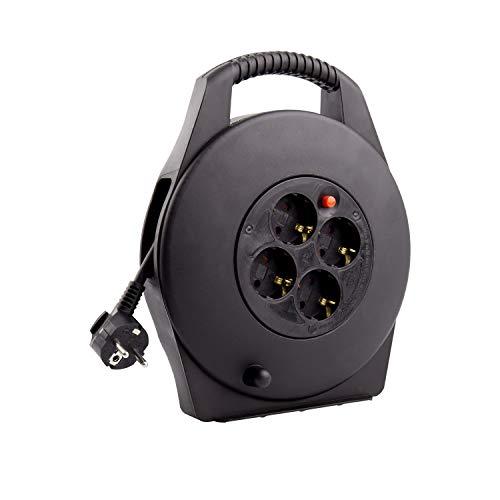 Carrete Alargador de Cable 10m Negro efectoLED