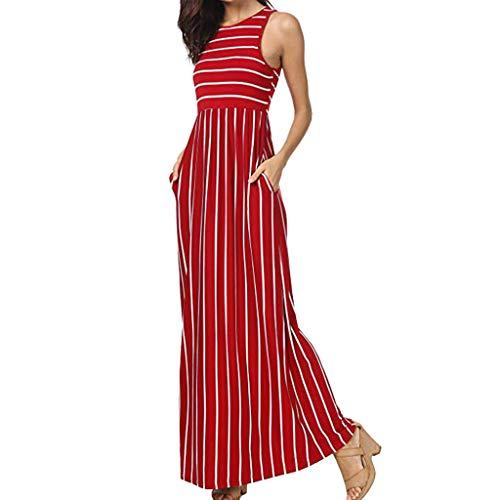 Zegeey Damen Kleid Sommer Kurzarm Schulterfrei Einfarbig Blumenkleid Maxi Kleid A-Linie Kleider Vintage Elegant LäSsige Kleidung Rundhals Basic Casual Strandkleider(W8-rot,L)