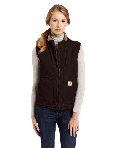 Carhartt Womens Mock Neck Vest Sandstone WV001, Größe:M, Farbe:Dunkelbraun Cotton Duck Vest