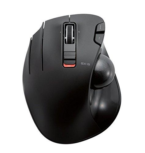ELECOM M-XT4DRBK Kabellose Trackball Maus für Linkshänder EX-G Serie L Größe 2,4 GHz 6 Tasten schwarz schwarz Left-Handed
