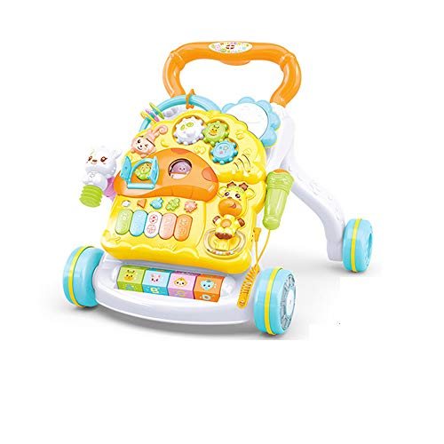 Godme-Baby carriage Toy 2 in 1 Lauflernhilfe, Trolley-Babyspielzeug, Anti-Rollover-Lauflernhilfe für Kinder zwischen 0 und 18 Monaten - (Deluxe Edition Toys),Yellow -