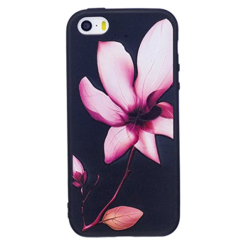 "MOONCASE iPhone 5/iPhone 5s/iPhone SE Coque, [Relief Pattern] Flexible TPU Protection Housse Ultra Slim Armure Anti-choc Defender Etui Case pour iPhone 5/5s/iPhone SE 4.0"" Big Owl Lotus"