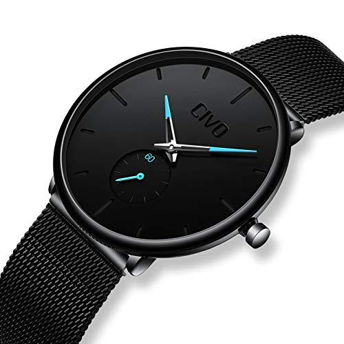 CIVO Relojes de Hombre Lujo Impermeable Ultra Fino Negro Reloj de Acero Inoxidable Minimalista Moda Deportivo Casuales Clásico Negocios Relojes de Pulsera para Hombres