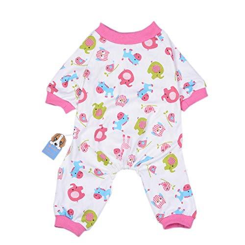 Ridecle Puppy Dog Kleidung Soft Cotton Pyjamas Strampler Pink Overalls Bodysuits Dog Nachtwäsche für kleine und mittlere Hunde, XL Cotton Soft Overalls