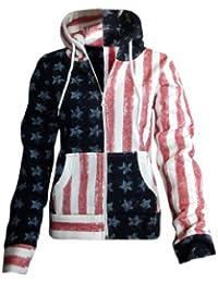LADIES AMERICAN FLAG HOODED JUMPER SIZE 8-14