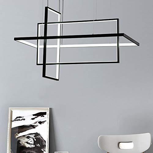 Modernen LED Pendelleuchte, Esszimmer Hängelampe, Rechteckig Kreative Pendellampe Designleuchte, Esstisch Wohnzimmer Metallrahmen Aluminium Kronleuchter. Wohnzimmer Schlafzimmer Lampe,Schwarz 95W - Moderne Rechteckige Kronleuchter