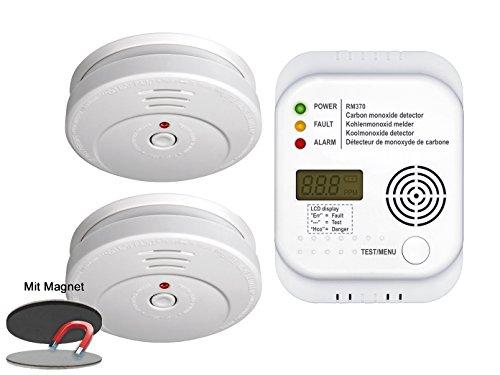 Brandschutz-Set7 (2 x Rauchmelder, Kohlenmonoxid-Melder, Magnethalter) Sicherheits-Set...