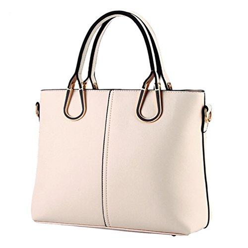 Auspicious beginning Classic Elegante Spalla grande capacità Top Handle Bag per le signore beige bianco