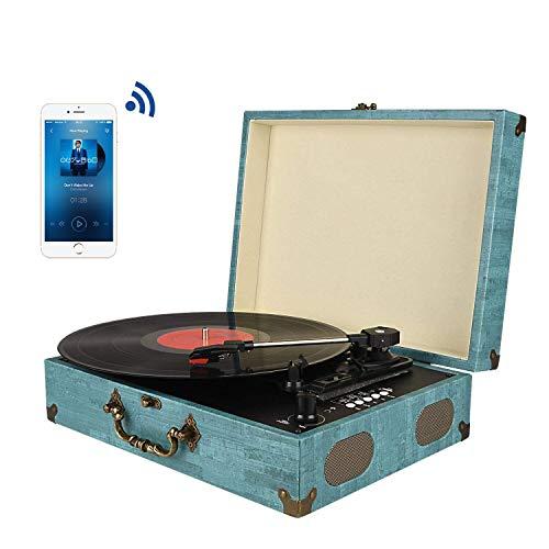 Tocadiscos Bluetooth con Estéreo Altavoces, Tocadiscos de Vinilo de Estilo Vintage, 33/45/78...