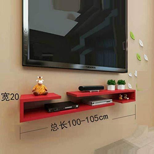 BinLZ Wandmontage Laminat Tv-Schrank Farbe Set-Top-Box Rahmen Wanddekoration Modernen Minimalistischen Versenkbaren Rack Wandbehang, Red