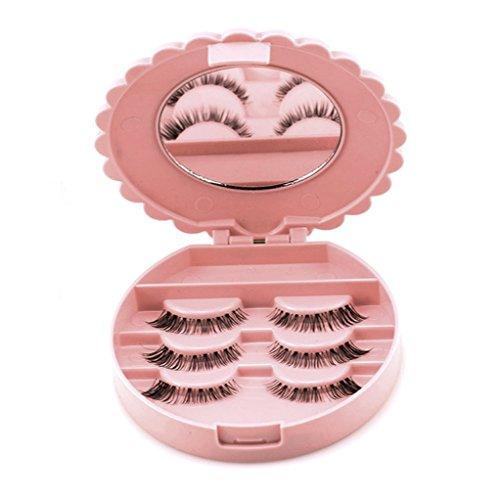 Vovotrade Acryl Nette rosa Schleife Falsche Wimper Aufbewahrungsbox Make-up Kosmetik Spiegel Fall Organizer