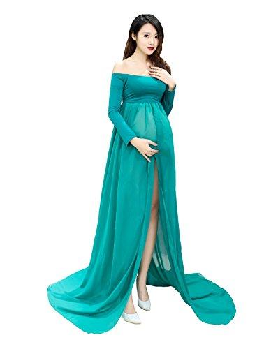 Mutterschaft Langarm reine Chiffon Kleid Split vorderen Maxi Fotografie Kleid für Foto-Shooting